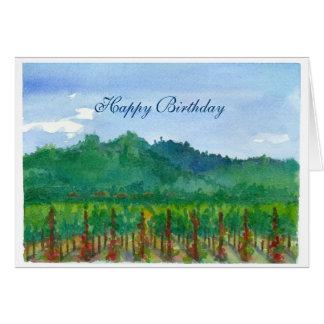 Napa Valley Vineyard Watercolor Happy Birthday Card