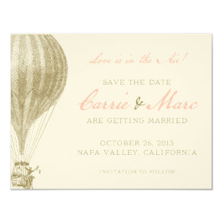 Napa Valley Vintage Hot Air Balloon Save the Date 4.25x5.5 Paper Invitation Card