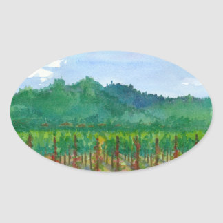 Napa Valley Wine Country Vineyards Painting Oval Sticker