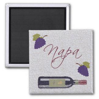 Napa Vintage Wine Bottle 2 Inch Square Magnet