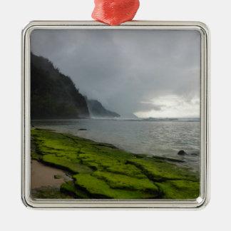 Napali Coast - Kauai Hawaii Square Metal Christmas Ornament