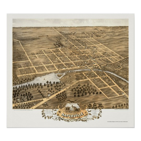 Naperville, IL Panoramic Map - 1869 Poster