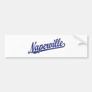 Naperville script logo in blue distressed bumper sticker