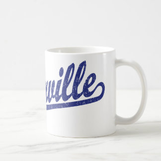 Naperville script logo in blue distressed coffee mug