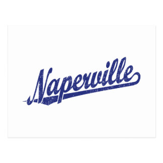Naperville script logo in blue distressed postcard