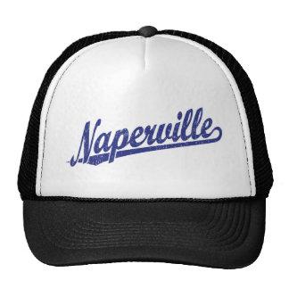 Naperville script logo in blue distressed trucker hat