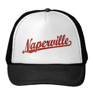 Naperville script logo in red distressed trucker hats