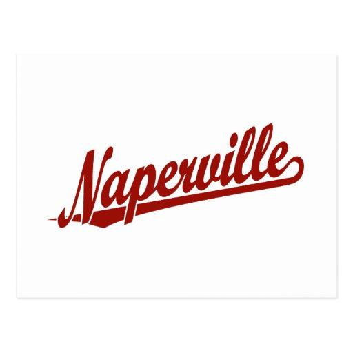 Naperville script logo in red postcard