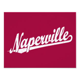 Naperville script logo in white distressed custom announcements