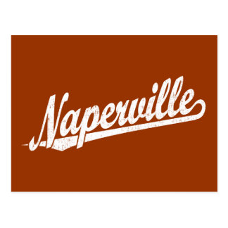 Naperville script logo in white distressed postcard