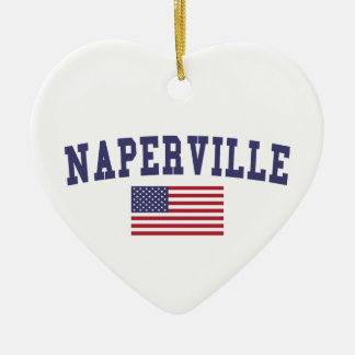 Naperville US Flag Ceramic Ornament