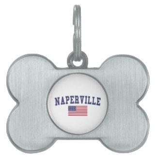 Naperville US Flag Pet Name Tag