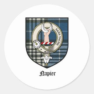 Napier Clan Crest Badge Tartan Round Stickers