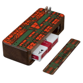 Napier clan Plaid Scottish kilt tartan Wood Cribbage Board