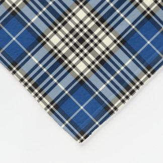 Napier Clan Royal Blue, Black and White Tartan Fleece Blanket