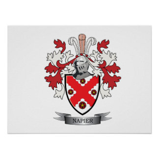 Napier Family Crest Coat of Arms Poster