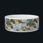 """Napili Bay Hawaiian Pet Bowls<br><div class=""""desc"""">As tropical breezes blow through the palm trees, gentle waves crash on the shore in this scenic Hawaiian textile print of Napili Bay. Inspired by the vintage Aloha Shirt designs of the 40&#39;s, 50&#39;s and 60&#39;s. Customize the bowl with your pet&#39;s name in English, Hawaiian or the language of your...</div>"""