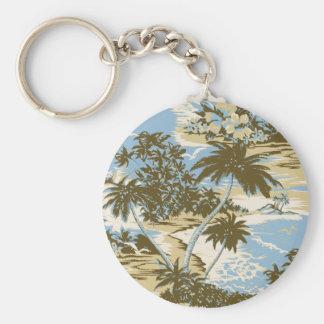 Napili Bay Vintage Hawaiian Keyrings Basic Round Button Keychain