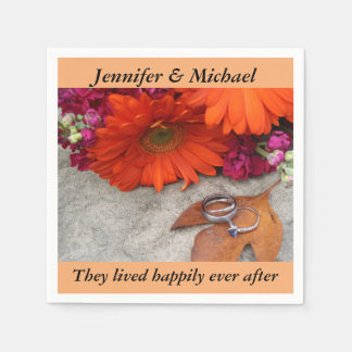 Napkin Wedding Reception Personalize Fall Floral