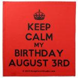 [Crown] keep calm my birthday august 3rd  Napkins