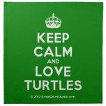 [Crown] keep calm and love turtles  Napkins