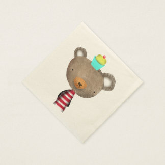 Napkins Bear and cupcake