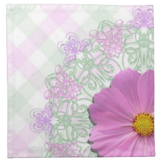 Napkins - Cloth - Med.Pink Cosmos on Lace