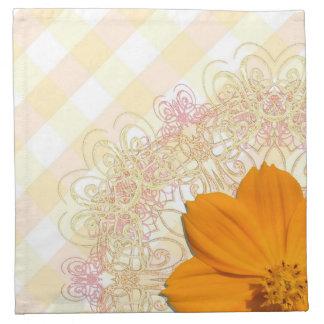 Napkins - Cloth - Orange Cosmos Lace Latt