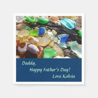 Napkins Daddy Happy Father's Day Love Kid's Name Standard Cocktail Napkin