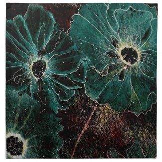 Napkins--Giant Art Deco Flowers in Aqua Napkin