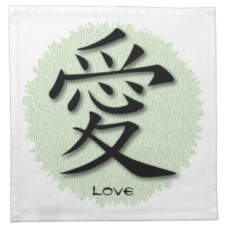 Napkins With Chinese Symbol For Love On Mat