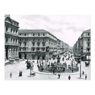 Naples, 1908, City centre and roundabout Postcard