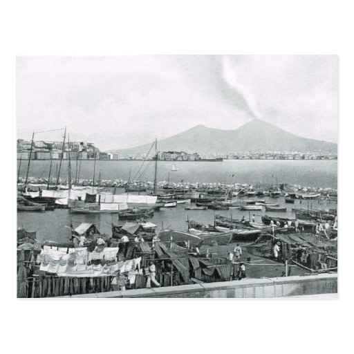 Naples, 1908, Harbour with houseboats and Vesuvius Post Card