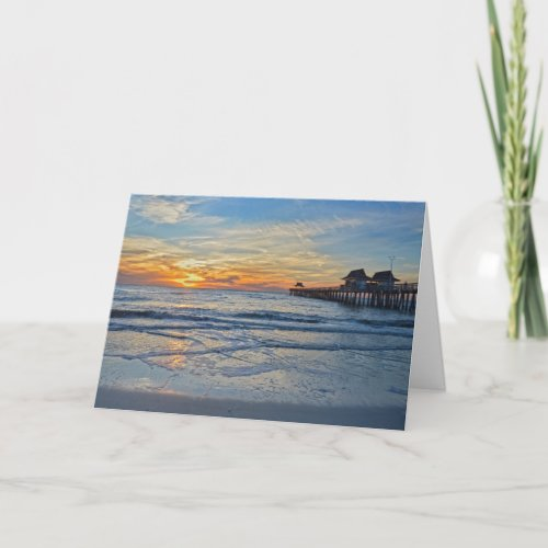 Naples Beach, Florida, Pier at Sunset Card