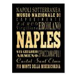 Naples City of Italy Typography Art Postcard