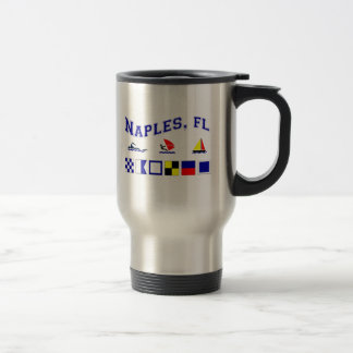 Naples, FL w/ Maritime Flags Travel Mug