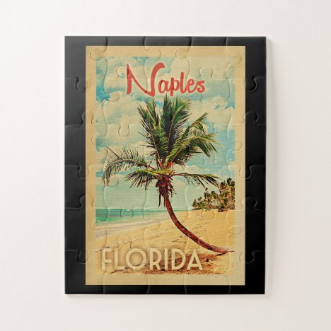 Naples Florida Palm Tree Beach Vintage Travel Jigsaw Puzzle