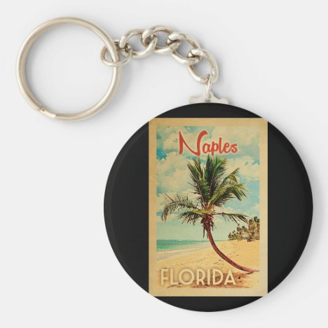 Naples Florida Palm Tree Beach Vintage Travel Keychain