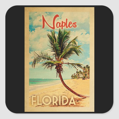 Naples Florida Palm Tree Beach Vintage Travel Square Sticker