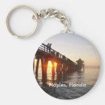 Naples Pier Basic Round Button Keychain