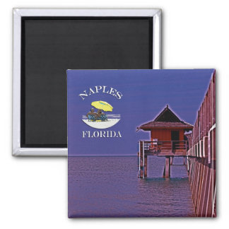 Naples Pier In Blues 2 Inch Square Magnet