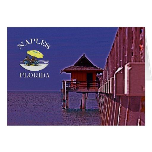 Naples Pier In Blues Card