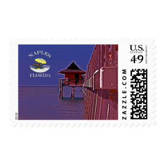 Naples Pier In Blues Postage Stamp