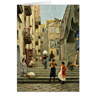 Naples Street Scene - Paul G. Fischer painting Greeting Card