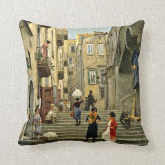 Naples Street Scene - Paul G. Fischer painting Throw Pillows
