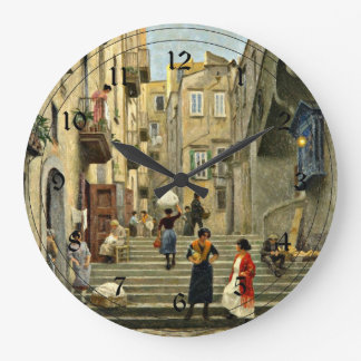 Naples Street Scene - Paul G. Fischer painting Wall Clocks