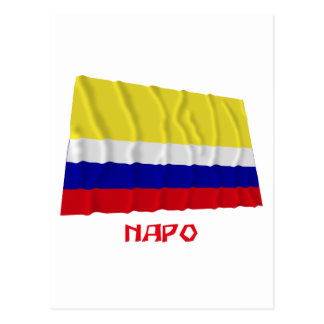 Napo waving flag with Name Postcard