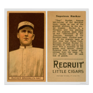 Napolean Rucker Dodgers Baseball 1912 Poster