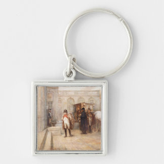 Napoleon after Waterloo (oil on canvas) Silver-Colored Square Keychain