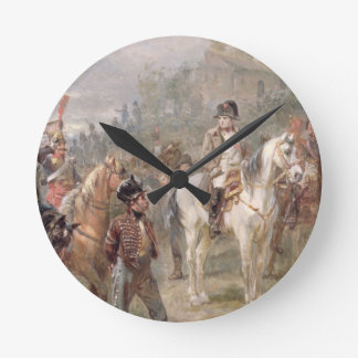 Napoleon and his Troops (oil on panel) (pair of 12 Round Wallclock